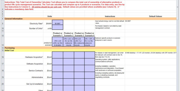 Airplane Cost Of Ownership Spreadsheet For Totalost Of Ownership Excel Templateoles Thecolossuso