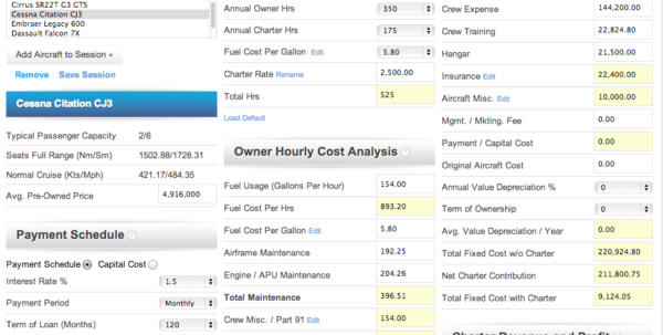 Airplane Cost Of Ownership Spreadsheet In Aircraft Cost Calculator  Fast, Accurate Ownership And Operating Costs