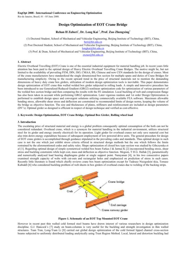 Aisc Crane Beam Design Spreadsheet With Pdf Design Optimization Of Eot Crane Bridge