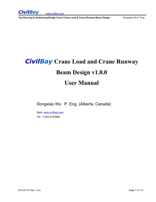 Aisc Crane Beam Design Spreadsheet Within Civilbay Crane Load And Crane Runway Beam Design V1.0.0 User