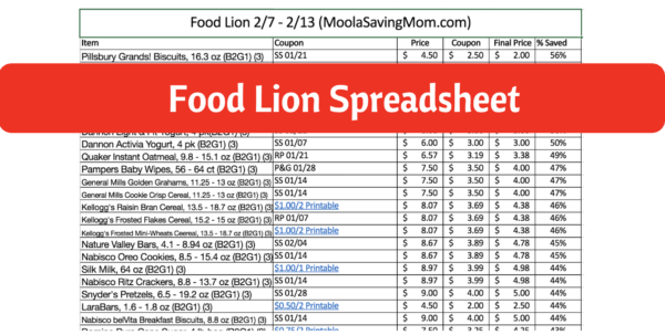 Aldi Price List Spreadsheet 2018 For Food Lion Spreadsheet 2/7  2/13  Moola Saving Mom