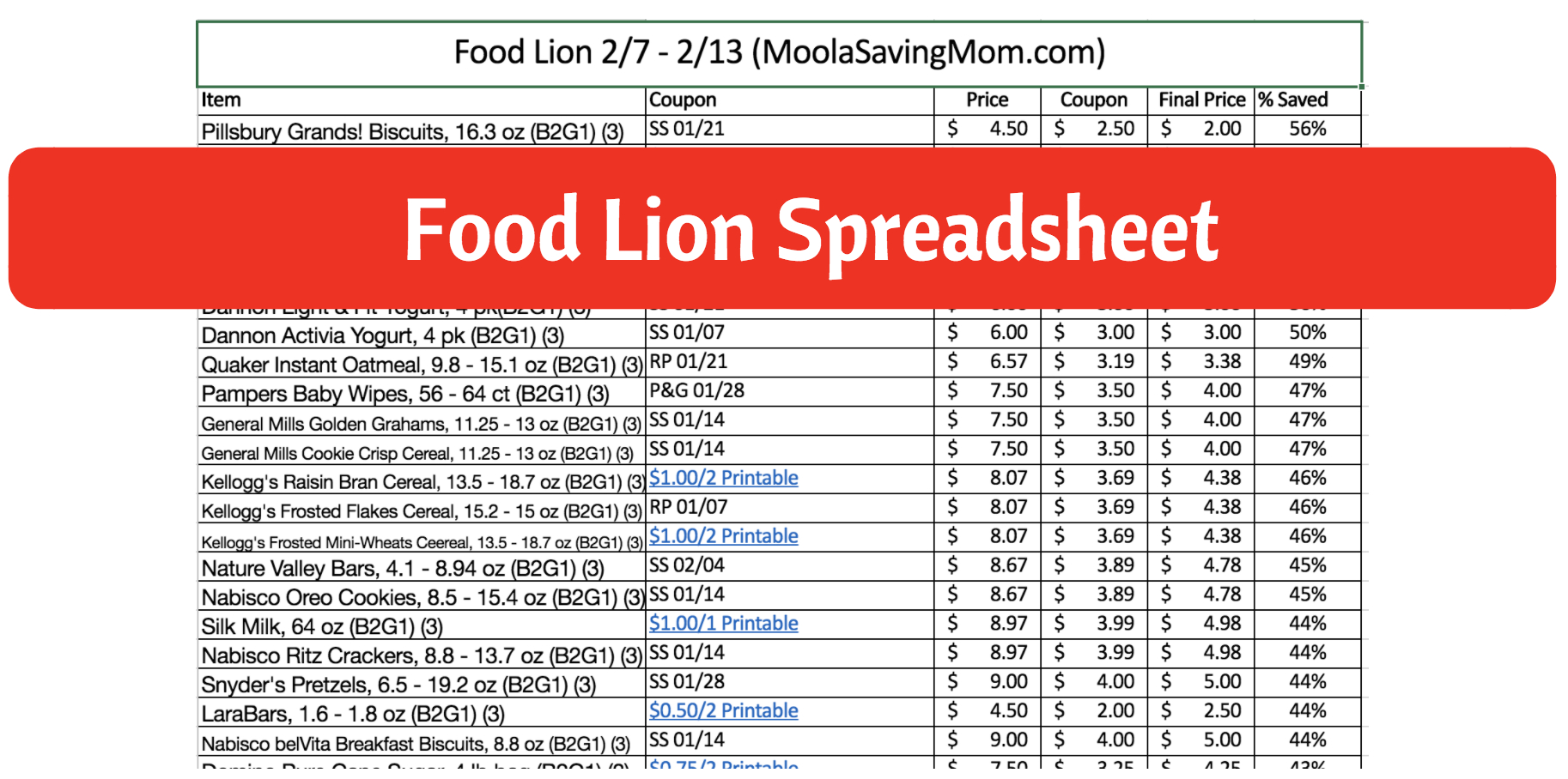 Aldi Price List Spreadsheet 2018 For Food Lion Spreadsheet 2/7  2/13  Moola Saving Mom Aldi Price List Spreadsheet 2018 Printable Spreadshee Printable Spreadshee aldi price list spreadsheet 2018
