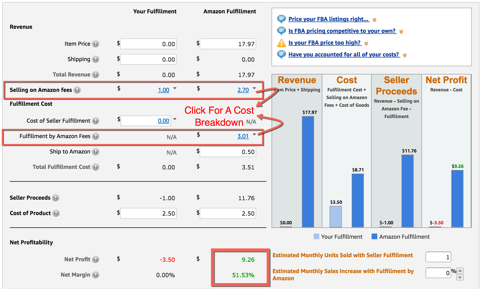 Amazon Fba Excel Spreadsheet For Fba Calculator: Free Tool To Calculate Amazon Fees, Profit  Revenue