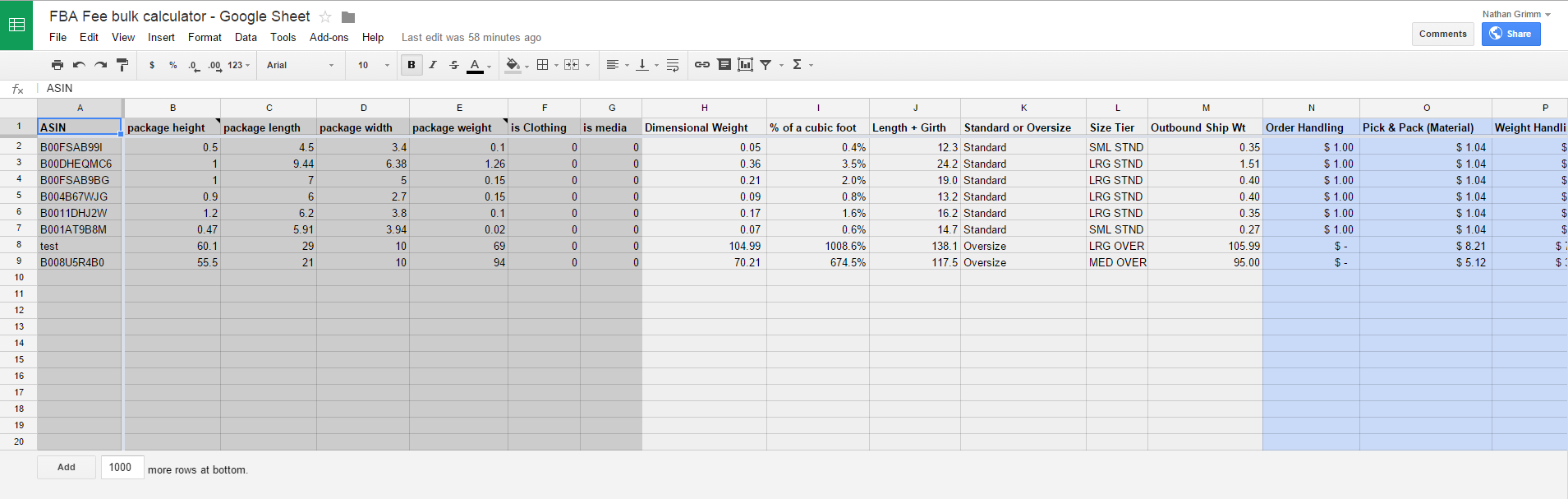 Amazon Fba Excel Spreadsheet In Fba Fee Bulk Calculator In Excel For Us And Uk