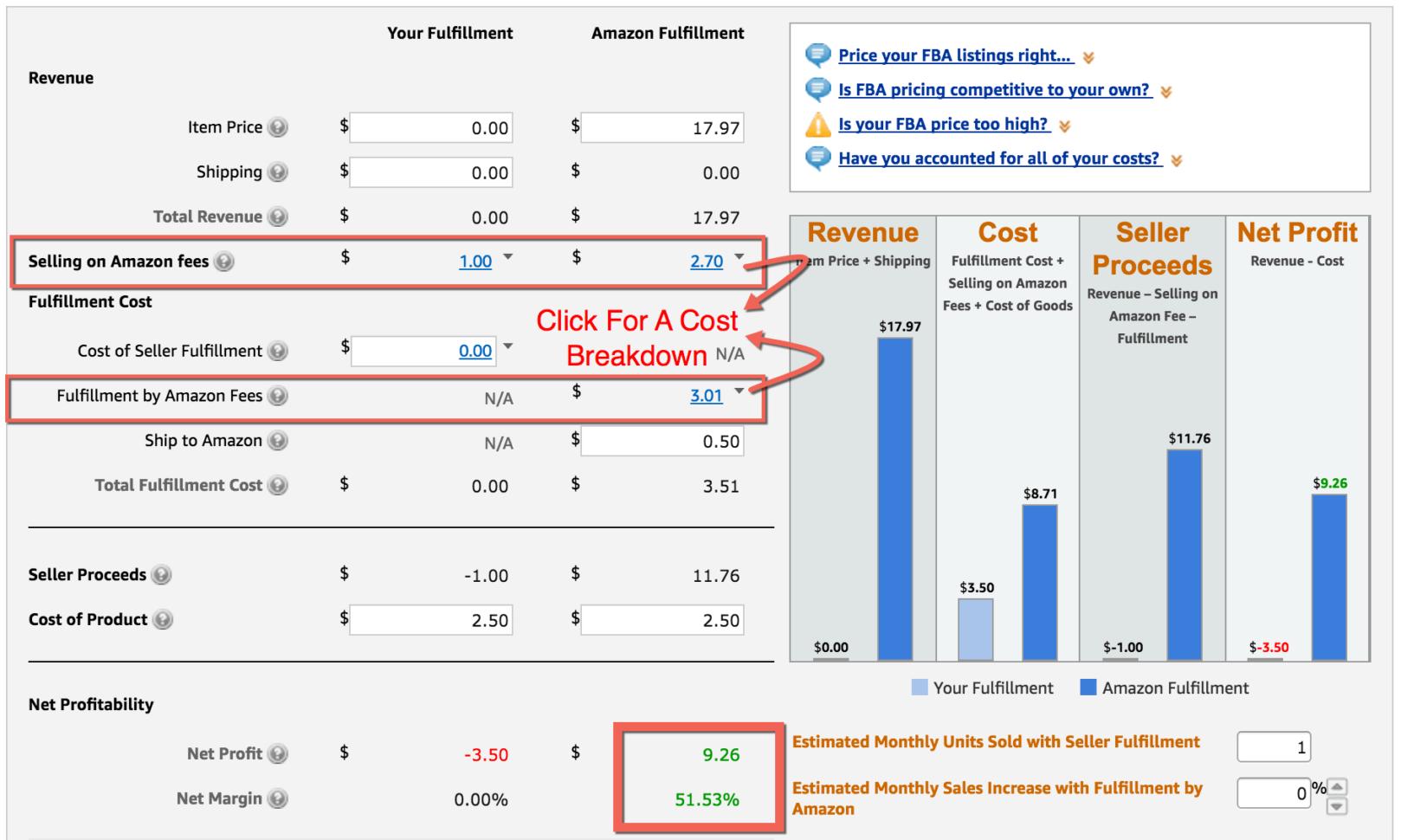 Amazon Fba Profit Spreadsheet Inside Fba Calculator: Free Tool To Calculate Amazon Fees, Profit  Revenue
