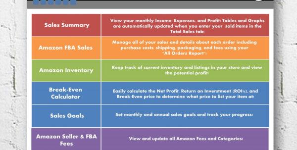 Amazon Fba Profit Spreadsheet With Regard To Amazon Fba Seller Sales  Profit Break Even Calculator  Etsy