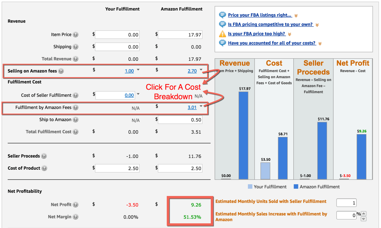 Amazon Fba Seller Sales & Profit Excel Spreadsheet In Fba Calculator: Free Tool To Calculate Amazon Fees, Profit  Revenue