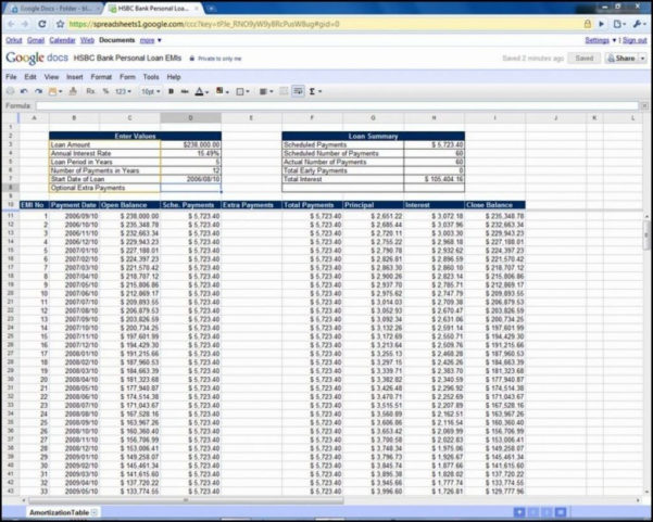Amortization Schedule Spreadsheet Regarding Excel Amortization Template Along With Example Homeoan Calculator