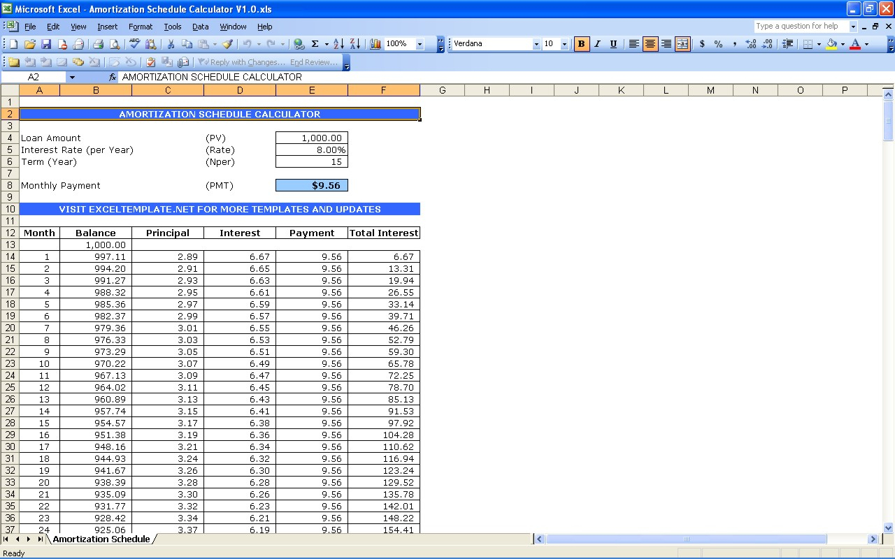 Amortization Spreadsheet Excel With Amortization Schedule Calculator  Excel Templates