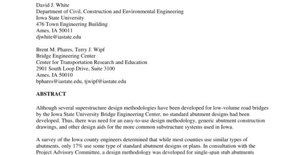 Anchor Block Design Spreadsheet In Pdf Development Of Abutment Design Standards For Local Bridge