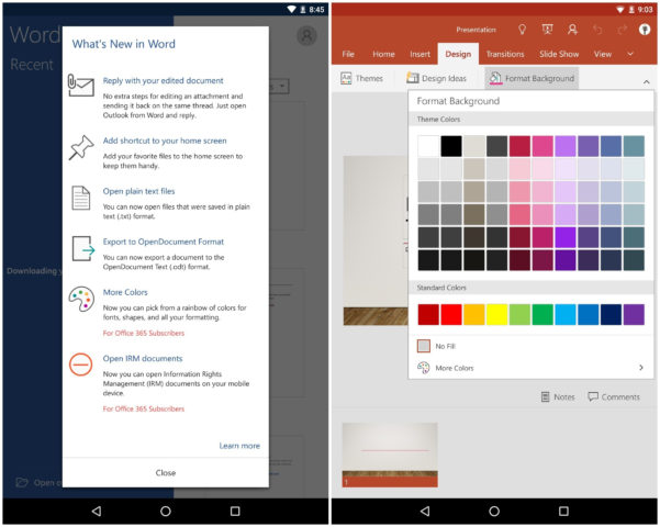 Android Spreadsheet Widget Throughout Office For Android Gets Homescreen Shortcuts, Other Key Features In