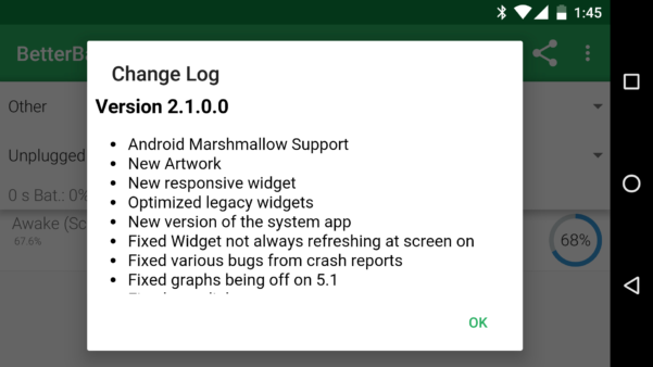 Android Spreadsheet Widget With Betterbatterystats V2.1 Comes With Android Marshmallow Support And