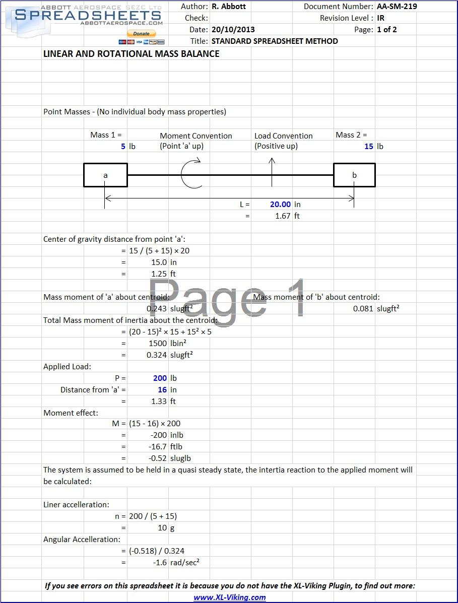 Angular Spreadsheet Regarding Updated Mass Balance Spreadsheet : Abbott Aerospace Sezc Ltd.