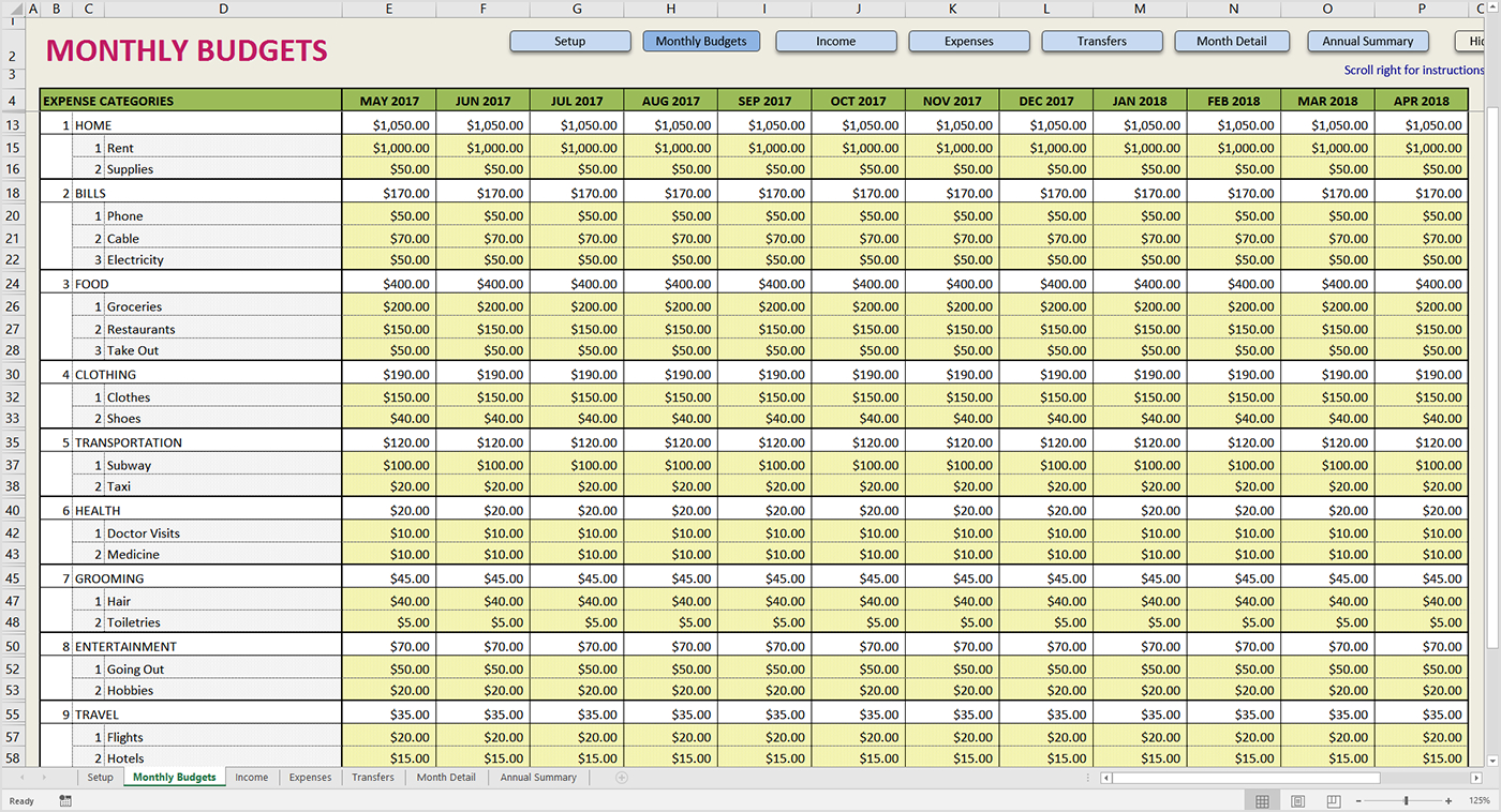 Annual Family Budget Spreadsheet Intended For Premium Excel Budget Template  Savvy Spreadsheets