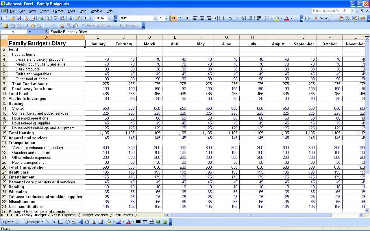 Annual Family Budget Spreadsheet With Excel Spreadsheet For Bills Template Sample Worksheets Finance