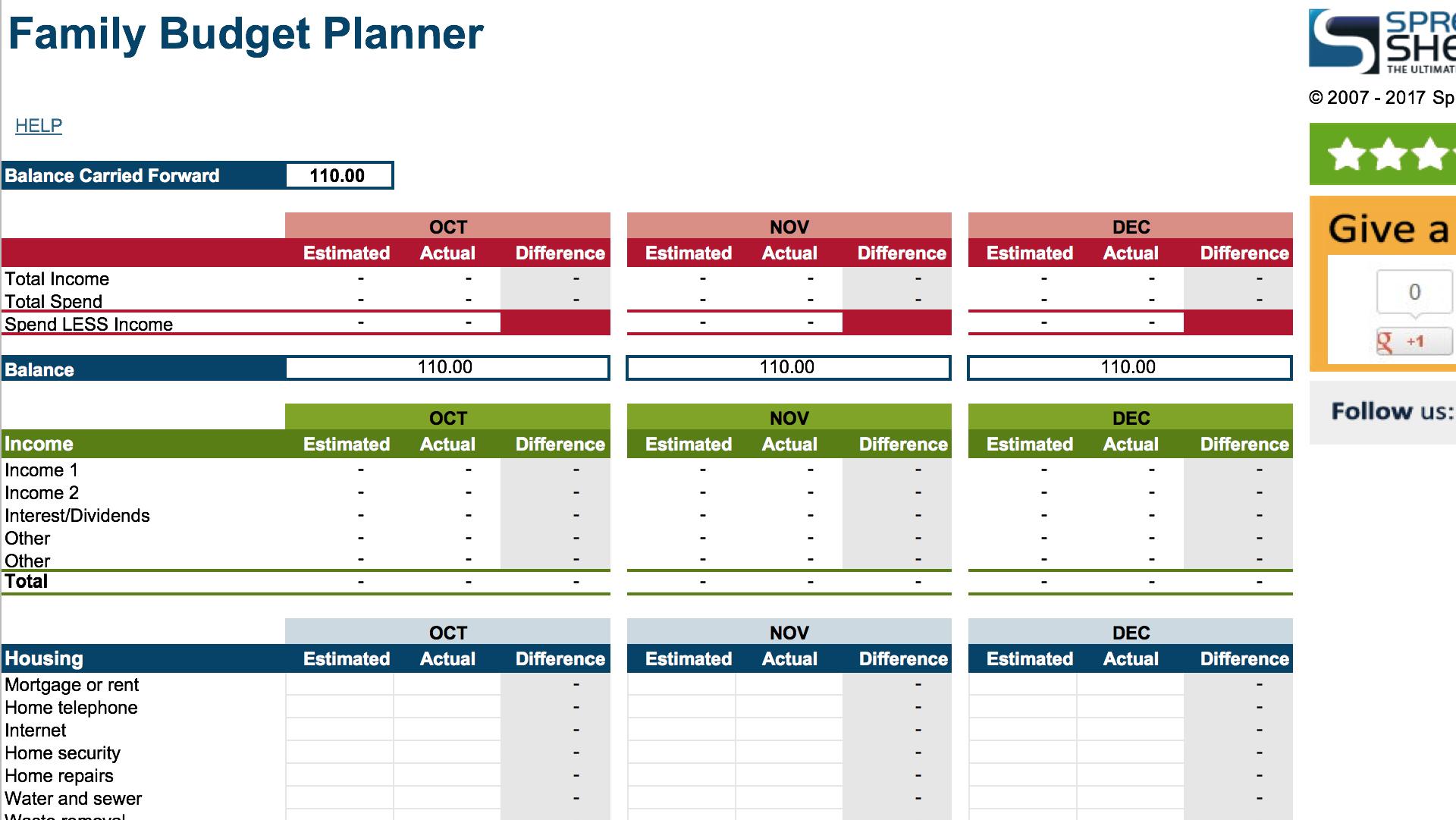 Annual Family Budget Spreadsheet Within 15 Easytouse Budget Templates  Gobankingrates