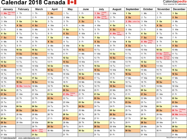Annual Leave Spreadsheet 2018 Inside Canada Calendar 2018  Free Printable Excel Templates