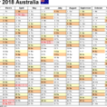 Annual Leave Spreadsheet 2018 With Regard To Australia Calendar 2018  Free Printable Excel Templates