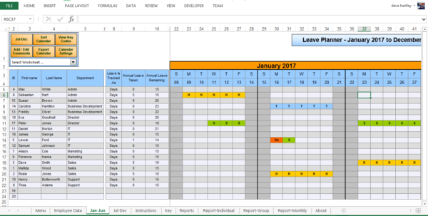 Annual Leave Spreadsheet 2018 With The Staff Leave Calendar. A Simple Excel Planner To Manage Staff