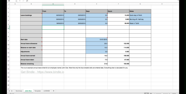 Annual Leave Spreadsheet Intended For Free Annual Leave Spreadsheet  Bindle
