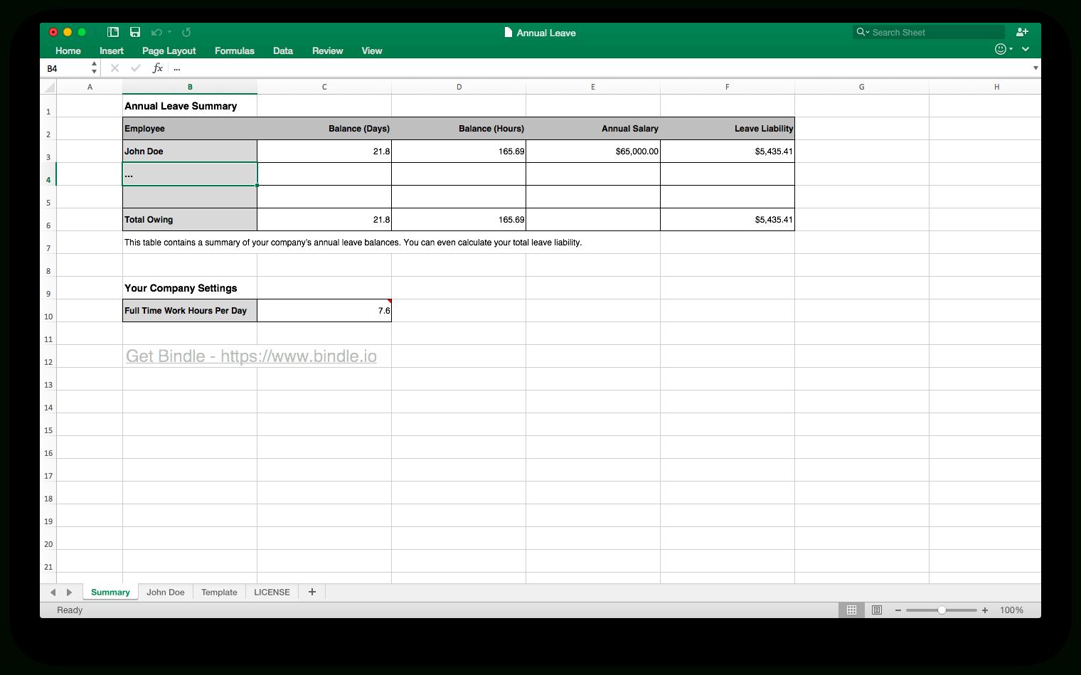 Annual Leave Spreadsheet Regarding Free Annual Leave Spreadsheet  Bindle
