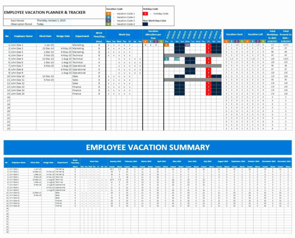 Annual Leave Spreadsheet Template Regarding Excel Pto Tracker Template Luxury Free Annual Leave Spreadsheet