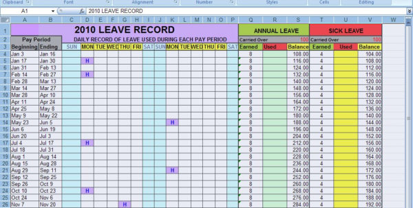 Annual Leave Spreadsheet With Regard To Ms Excel 2007 Spreadsheet Question: I Need To Calculate Values Of