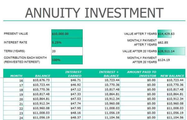 Annuity Calculator Excel Spreadsheet For Retirement Annuity Calculator Excel And Annuity Calculator For Excel