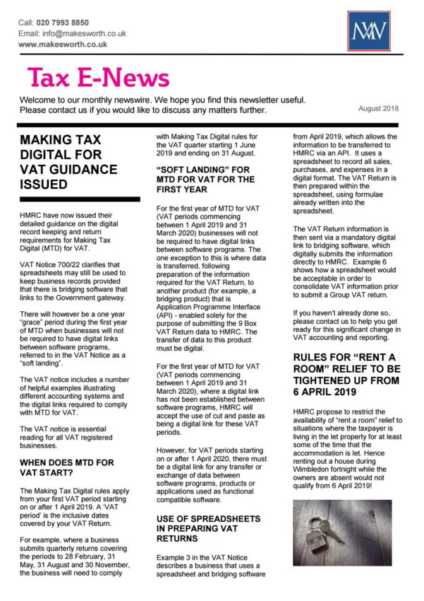 Api Enabled Spreadsheet For Mtd With Regard To Makesworth Tax Newsletter August 2018Makesworth Accountants  Issuu