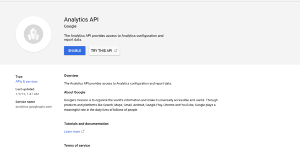Api Enabled Spreadsheet Regarding Using Google Apps Script To Fetch Data From Your Google Analytics
