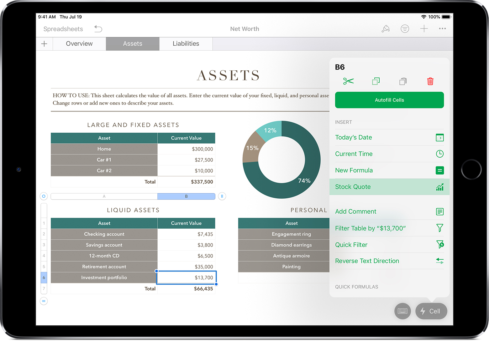 Apple Spreadsheet App For Ipad For Add Current Stock Quotes And Currency Exchange Rates Into Your