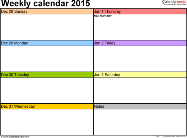 Appointment Spreadsheet Free Intended For Weekly Calendar 2015 For Word  12 Free Printable Templates