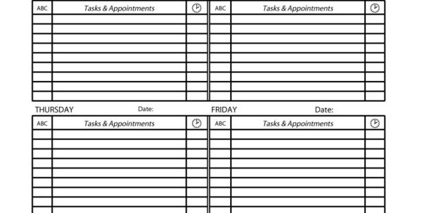 Appointment Spreadsheet Free With 40  Printable Daily Planner Templates Free  Template Lab