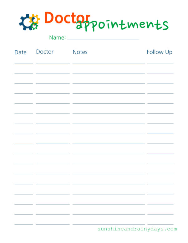 Appointment Spreadsheet Free Within Doctor Appointments Free Printable  Log Your Doctor Visits