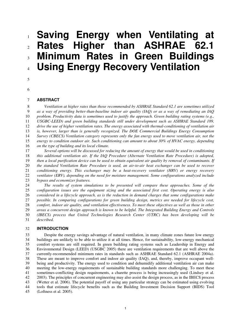 Ashrae 62.1 Ventilation Spreadsheet Pertaining To Pdf Saving Energy When Ventilating At Rates Higher Than Ashrae 62.1