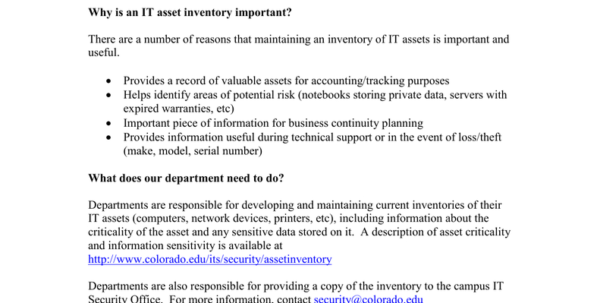Asset Inventory Spreadsheet Intended For Asset Inventory Guidance Departments Without An It Asset Inventory