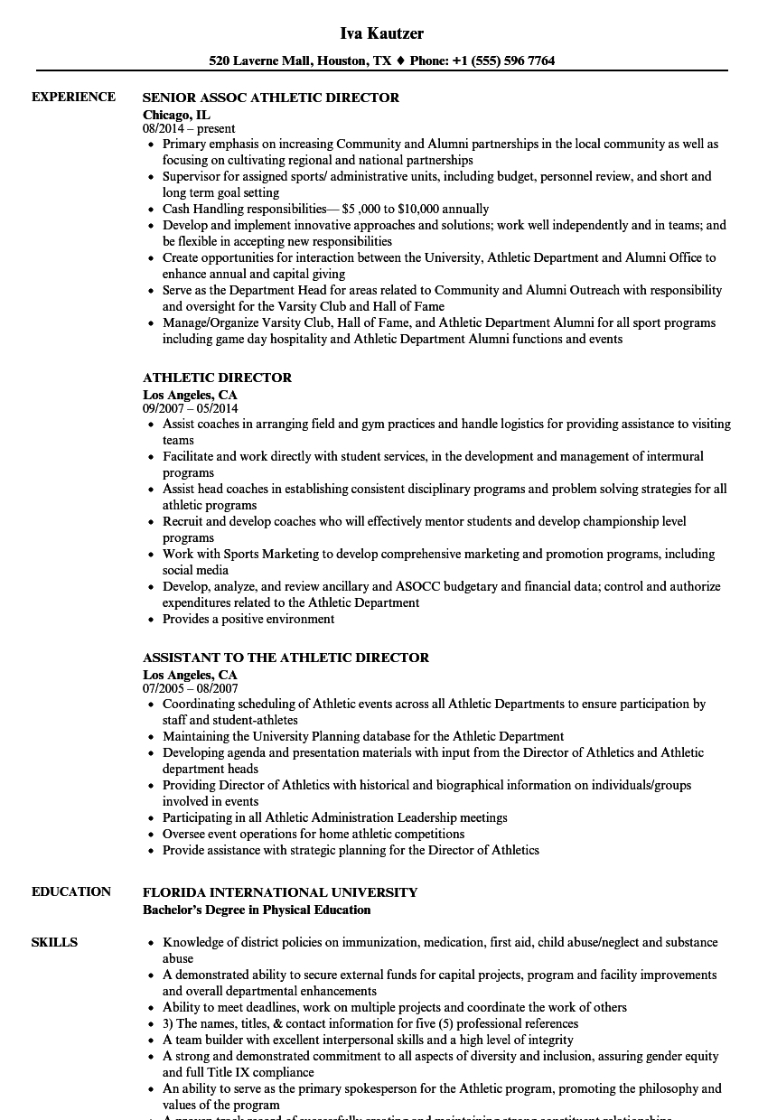 Athletic Director Budget Spreadsheet With Athletic Director Resume Samples  Velvet Jobs