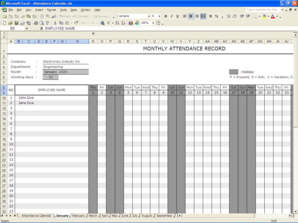 Attendance Spreadsheet Template Excel With Regard To Attendance Sheet Template Excel Xymetri Com Free Downloadattendance