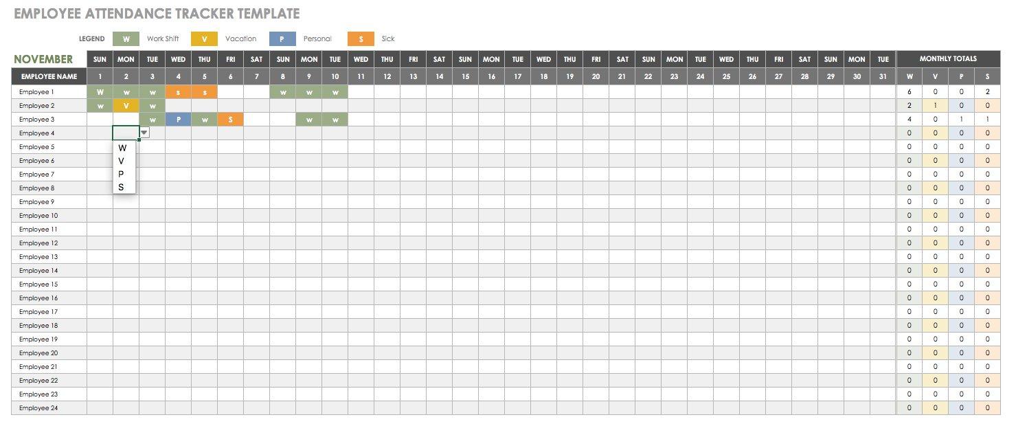 Attendance Tracking Spreadsheet for Employee Attendance Tracking Spreadsheet Template Free Excel Tracker