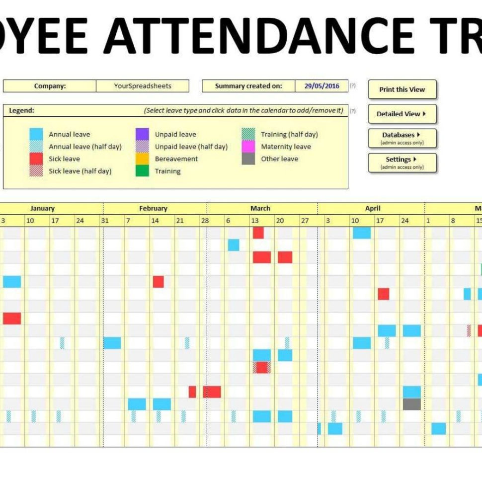 Attendance Tracking Spreadsheet Template Inside Employee Attendance Tracking Spreadsheet Free Tracker Template Excel