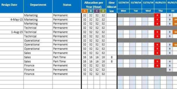 Attendance Tracking Spreadsheet Template With 5  Employee Vacation Tracking Spreadsheet Template  Cashier Resumes