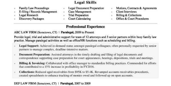 Attorney Case Management Spreadsheet Regarding Paralegal Resume Sample  Monster