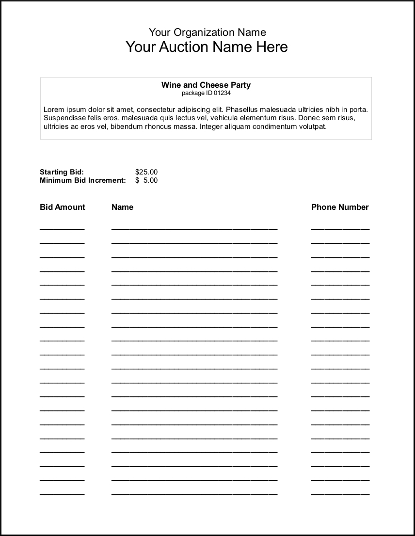 Auction Spreadsheet Pertaining To Bid Sheet Template Proposal Pdf For Painting Evaluation Spreadsheet