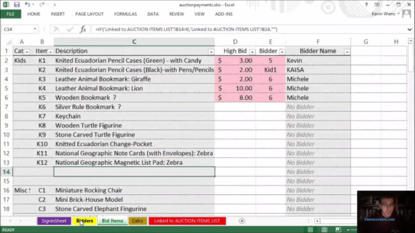 Auction Spreadsheet Template Intended For Fundraiser Tracking Spreadsheet 6  Homebiz4U2Profit