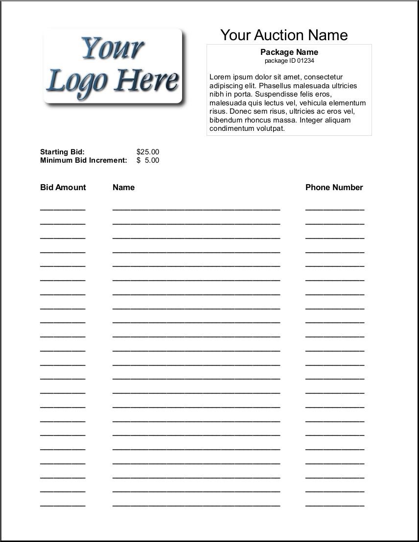 It is a photo of Selective Printable Silent Auction Bid Sheet
