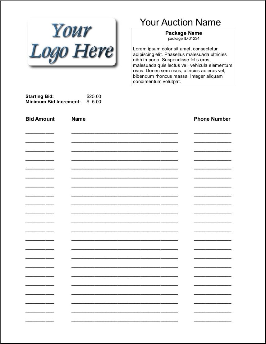 Auction Spreadsheet Throughout Bid Sheet Template Silent Auction Pinterest Proposal Pdf