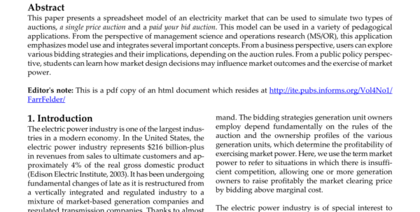 Auction Spreadsheet Within Pdf An Introduction To Electricity Market Auctions Using A Spreadsheet