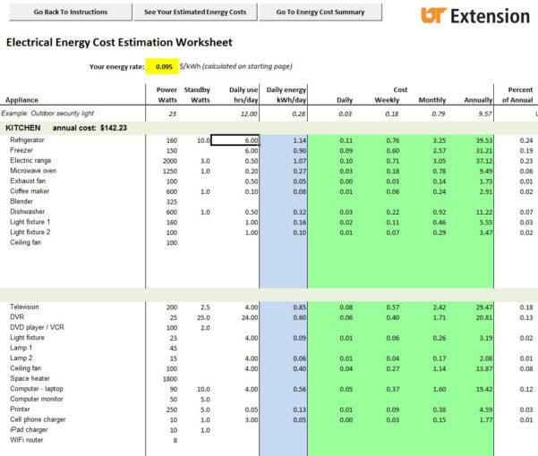Audit Spreadsheet Regarding Doityourself Home Energy Audits