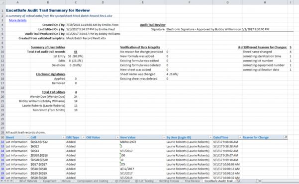 Audit Spreadsheet Regarding Excelsafe Audit Trail Report  Ofni Systems