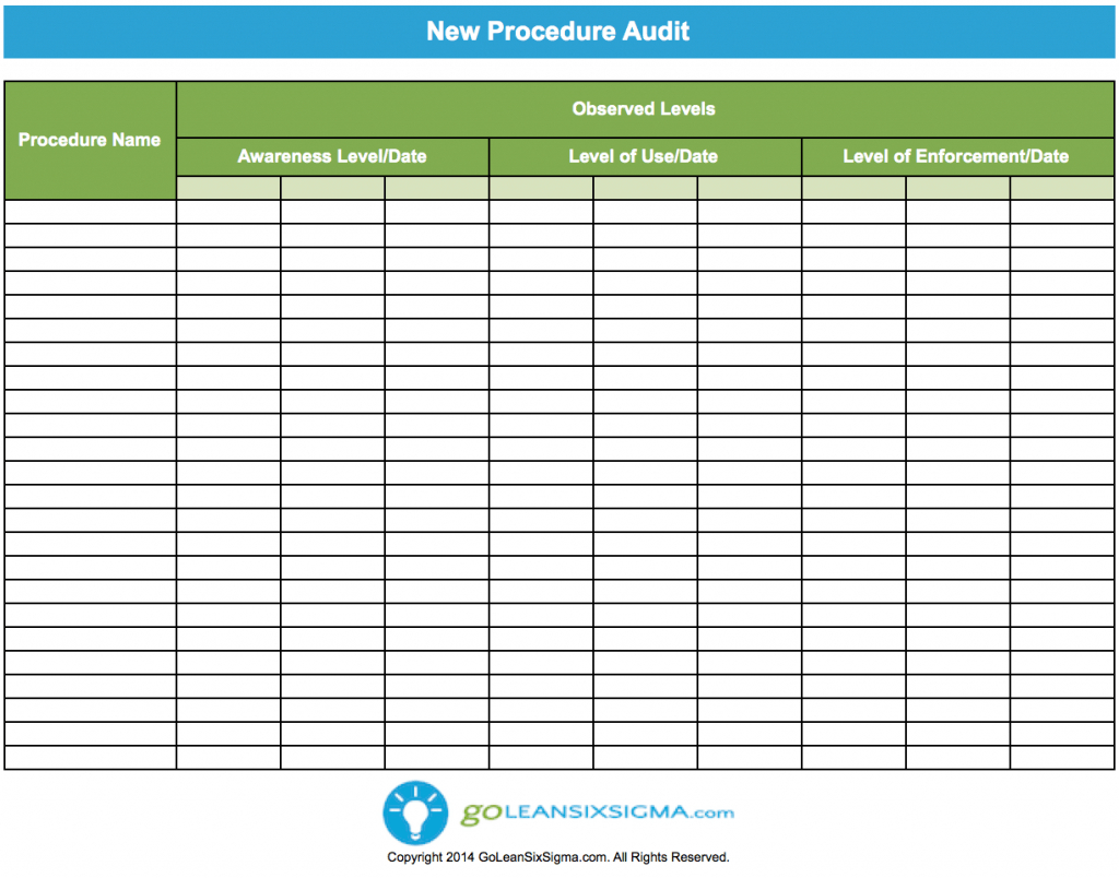 Audit Spreadsheet Templates For New Procedure Audit  Template  Example